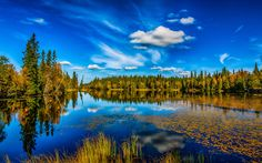 Download wallpapers lake, forest, autumn, blue sky, clouds