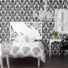 Black and White Vintage Wallpaper Bedroom