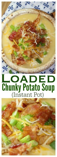 This potato soup is a comfort food and family favorite! It tastes like a loaded baked potato. Whip it up in less than 30 minutes using your Instant Pot.