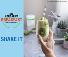 Breakfast can provide an important amount of your day's total nutrient intake. People who eat breakfast are more likely to meet their recommended daily intakes of protein, fibre, vitamins & minerals. Try this Vanilla Kiwi Breakfast Shake. Ingredients: 2 scoops (26 g) Formula 1 Vanilla Cream Flavoured Shake Mix 1 scoop Multifibre,250 ml warm semi-skimmed milk (1.5% fat),1/2 cup oats,1 kiwi,1-2 tsp of vanilla extract Place all ingredients in the blender and blend until smooth. www.herblyshop.co.za Herbalife Shop, Herbalife Protein, Herbalife Products, Herbalife Nutrition, Skimmed Milk, Vanilla Recipes, Vanilla Cream, Eat Breakfast, Vitamins And Minerals