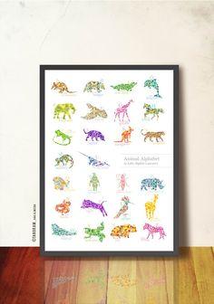 Animal Alphabet Poster Print Art Poster. Baby by TANGRAMartworks