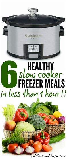 With a few quick and easy recipes, you can prepare 6 Healthy Slow Cooker Freezer Meals in Less than 1 Hour! Here are a shopping list, tips, and the recipes for Crock Pot success!