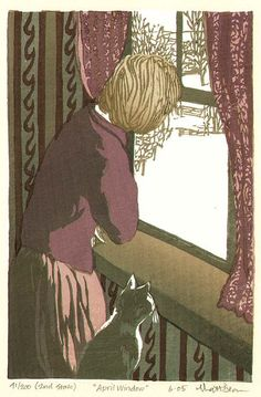 "Matthew (Matt) Brown - ""April Window"" (2nd state) - Color woodblock print"