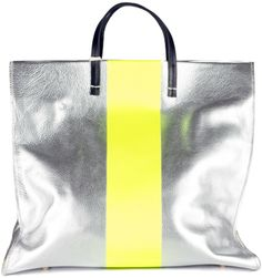 128737a99 Clare Vivier Silver Yellow Stripe Simple Tote - metallics are always in and  this one is fresh with that neon stripe
