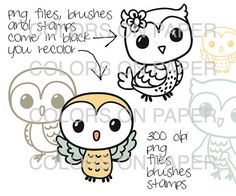 Digital Clipart Little Owls for You to Color. by ColorsonPaper