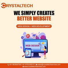Want your own Website to go for the Best. Web application Development refers to building a website and deploying it on the web. Nowadays, businesses are willing to showcase their products and services on websites, which helps their business grow globally and generate more and more revenue along with customer satisfaction. For more info, we will provide you best Web & Mobile Applications for your business. Sales E-mail:- sales@crystaltechservices.com Website:- www.crystaltechservices.com Design Web, Web Application Development, Web Development, It Service Provider, Website Web, Building A Website, Best Web, Mobile Applications, Business Sales