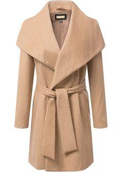 Comfy WINTER Fashion , Khaki Lapel Long Sleeve Belt Woolen Coat from m.shein.com, FREE shipping Worldwide - Fashion Clothing, Latest Street Fashion