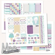 Ice cream cone planner stickers,THP printable stickers,summer sticker kit,mint and purple stickers,ice cream  weekly kit,Mambi,cut lines by MeeDigiScrap on Etsy
