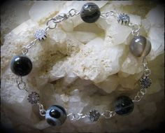 Handmade Silver Bracelet with Vein Agate & Flowers by IreneDesign2011