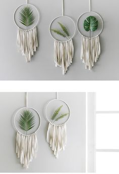 Macrame Tapestry Creative Dreamcatchers wall hangings With Leaves Macrame Wall Hanging Patterns, Macrame Patterns, Deco Boheme, Plant Wall, Diy Wall Decor, Craft Stick Crafts, Rugs On Carpet, Decoration, Dream Catcher