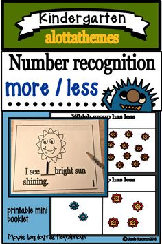 This resource is perfect for your math centers. These printables are a must have if you are covering the concept on more/less. and number recognition. Subtraction Kindergarten, Teaching Kindergarten, Preschool, Subitizing, Reading Practice, Number Activities, More And Less, Number Recognition, Word Families