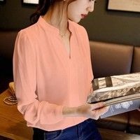 Spring Autumn Office Lady Shirt Women V-Neck Tops Long Sleeve Casual Chiffon Blouse Female Work Wear Solid Blusas Women's Shoes, Long Sleeve Tops, Long Sleeve Shirts, The Office Shirts, Chiffon Shirt, Chiffon Fabric, Shirt Blouses, Blouses For Women, Sleeves