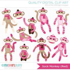 Pink Sock Monkey Clip Art / Digital Clipart  by MyClipArtStore, $5.00