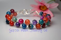Handmade Agate Braided Bracelet MultiColor by SisterMoonJewelryCo