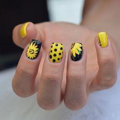 Yellow and Black Sunflower Nail Art