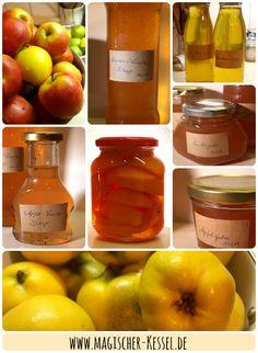 Projekt Komplettverwertung: Quittenkompott, Quittengelee, Quittenlikör, Quittensirup, Apfelmus, Apfelgelee, Apfelsirup   Der Magische Kessel
