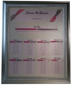 Framed Pink and Silver Wedding Table Plan www.lilguy.co.uk