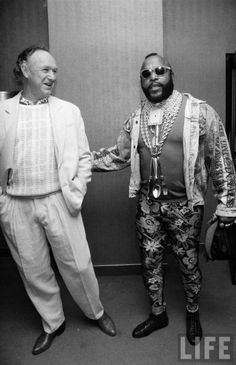 Gene Hackman and Mr T (I am DIGGING Mr T's pants! Also, full cutlery set around his neck)