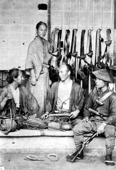 Samurai guards of the Dutch diplomatic mission in Nagasaki, shown with Western style rifles & attached bayonets. Ronin Samurai, Samurai Weapons, Samurai Armor, Japanese History, Japanese Culture, Asian History, Japanese Warrior, Japanese Sword, Warriors