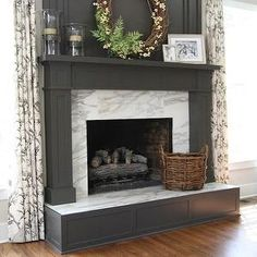 Gray Fireplace Mantle, Transitional, living room, M. E. Beck Design