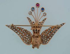 1900s Natural Pearl Diamond Ruby Sapphire & Rose Gold Peacock Brooch Pin | From a unique collection of vintage brooches at https://www.1stdibs.com/jewelry/brooches/brooches/ photo 4/6