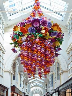 Zoe Bradley paper chandelier in the Burlington Arcade London. Photo: Jamie McGregor Smith