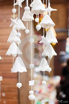 Ceramic chime-bells on the city fair during winter season: