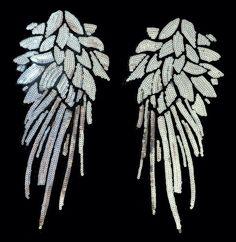 1 Paar Pailletten Flügel Aufnäher Bügelbild Aufbügler Patch Glitzer Applikation