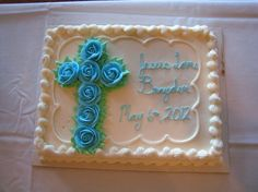 Baptism Cake -Found this design and thought it was perfect for a baby boy's baptism. Baptism Sheet Cake, Christening Cake Boy, Baby Boy Baptism, Baptism Cakes, Baptism Party, Baptism Ideas, Baby Dedication Cake, Costco Cake, Slab Cake