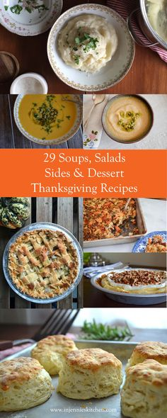 Everything you need to make your Thanksgiving meal complete, with 29 recipes for soups, sides, salads, & pies. Kitchen Recipes, Soup Recipes, Dessert Recipes, Desserts, Thanksgiving Leftover Recipes, Thanksgiving Leftovers, Easy Food To Make, Make It Simple, Vegan Options