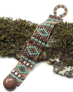 SUPERDUO TILE BRACELET - SuperDuo Diamond Czechmate Tiles & Rullas Bracelet - Umber Picasso - Turquoise Picasso - Miyuki Seed Beads (SD87)