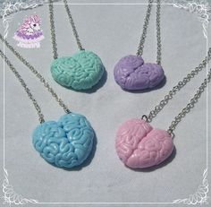 Love with your brain necklaces by ZombieUnicornJewelry on Etsy