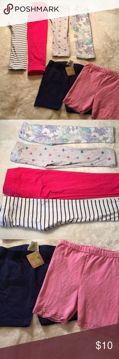 Bundle of leggings 5T leggings - the pink and white/navy striped leggings are full length. The palm tree print and floral print Old Navy leggings are Capri length. And the navy and pink are shorts - perfect for under dresses!  From a clean, smoke free home! Bundle for an even greater deal! Bottoms Leggings