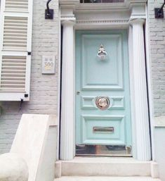 {via My Chic My Way} Entry doors offer guests the first glimpses of your aesthetic. They set the tone for what's in store once they step through the doors. But exterior doors don't have… Aqua Front Doors, Front Door Paint Colors, Painted Front Doors, Duck Egg Blue Front Door, Br House, Entry Doors, Entryway, Windows And Doors, Home Design