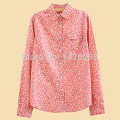 Floral Print Cotton Long Sleeve Blusas Femininas 2014 Autumn Fashion Pink Blusa Renda Camisas Shirt Women Blouses