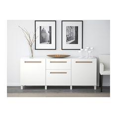 BESTÅ Comb arrumação c/gavetas - Marviken branco, calha p/gaveta, fecho suave - IKEA