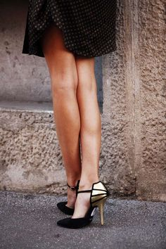 ankle strap pointed toe pumps with golden details