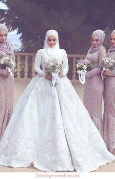 2019 New Arrival Satin Muslim Wedding Dresses High Neck Ball, This dress could be custom made, there are no extra cost to do custom size and color Muslim Wedding Gown, Hijabi Wedding, Muslimah Wedding Dress, Chic Wedding Dresses, Beautiful Prom Dresses, Bridal Dresses, Elegant Dresses, Plus Size Prom Dresses, Cheap Prom Dresses