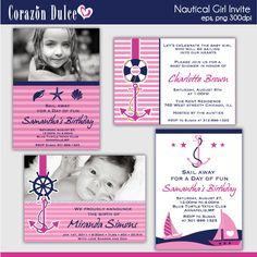 NAUTICAL GIRL Invite/ Party digital printable by corazondulce, $8.00