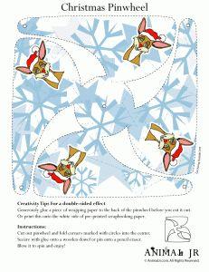 reindeer printable pinwheel 231x300 Easy Christmas Crafts: Printable Pinwheels