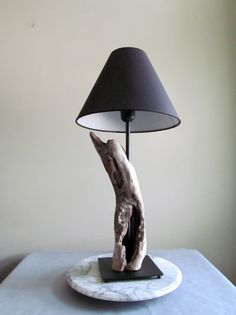 Driftwood Cavity Table Lamp with Black Base 18 by DriftingConcepts
