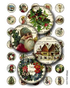 cristmas circles 1 inch round images Printable Download by 300dpi, $3.75
