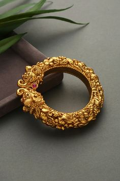 Gold Plated South Indian Temple Work Emboss Bangles with Floral Motifs. Gold Bangles Design, Gold Earrings Designs, Gold Jewellery Design, Necklace Designs, Gold Jewelry, Jewelry Box, Jewelry Making, Jewelry Displays, Gold Temple Jewellery