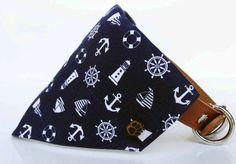 Nautical Designer Dog Collar Bandana