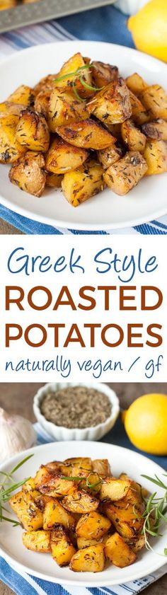 Greek Style Roasted Potatoes are crisp on the outside and have creamy centers Naturally vegan and glutenfree Vegan Side Dishes, Vegetable Side Dishes, Side Dish Recipes, Vegetable Recipes, Vegetarian Recipes, Healthy Recipes, Greek Recipes, Whole Food Recipes, Cooking Recipes