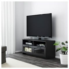 BRIMNES TV unit IKEA This TV unit has large drawers that make it easy to keep remote controls, game controllers and other TV accessories organized. Modern Tv Unit Designs, Modern Tv Units, Brimnes, Basement Furniture, Apartment Furniture, House Furniture, Black Tv Unit, Wall Mount Entertainment Center, Ikea Tv Unit