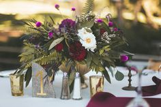 Temecula Creek Inn Moody burgundy & marsala wedding centerpiece by San Diego wedding florist, Compass Floral.