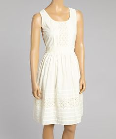 Take a look at the Anuna Ivory Eyelet Back-Tie Sleeveless Dress on #zulily today!