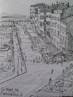 Desenho a tinta da china ST-Tropez