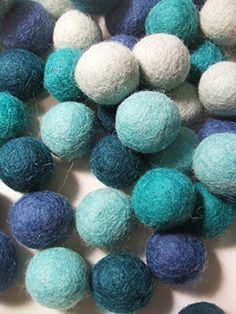60 Hand-felted Wool Felt Balls 1 CM Aquamarine Mix Handbehg Felts Fiber Crafts by Handbehg Felts, http://www.amazon.com/dp/B00R8KK2I0/ref=cm_sw_r_pi_dp_CWEwxbH01NCAP
